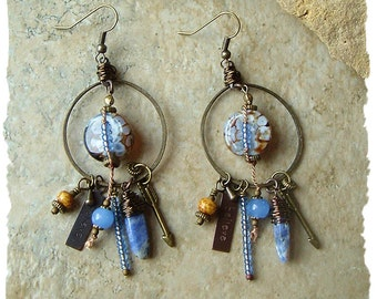 Believe - Handmade, Tribal Assemblage Earrings, Rustic Primitive Earrings, Earthy Boho Ethnic, BohoStyleMe, Kaye Kraus