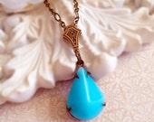 Aqua Art Deco Jewelry - Art Deco Necklace - Aqua Pendant - Victorian Necklace - Bridesmaid Gift - SOMERSET Aqua