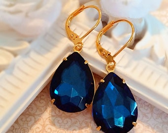 Winter Wedding Jewelry - Blue - Navy Earrings - Victorian - CAMBRIDGE Navy
