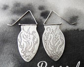 RESERVED FOR EVA - Phoenix sterling silver etched spear earrings - Reserved