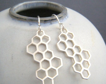 silver honeycomb earrings. simple modern sterling long large dangle. bee hive. geometric drop. nature jewelry unique gift her women 1 1/8