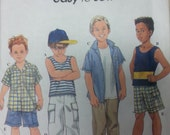 Easy to Sew Boys Pants Shorts and Shirt Pattern Simplicity 8719 Boys Knit Top Pattern Also included. Boys Size 5-8
