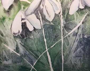 """A Digital 9""""x 12"""" Print of my Original Watercolor Painting, Snowdrop Dreams, an abstract look at Snowdrops, unframed"""