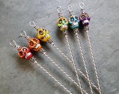 CUSTOM ORDER for LEAH, 6pc Handpainted Sugar Skull Martini, Cocktail or Appetizer Pick set with Holder, Food Grade Stainless Steel