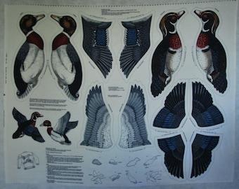 Blue/Gray Wood Duck and Mallard Fabric Panel 2-dimensional