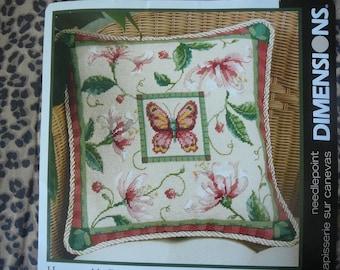 "NIP - ""Honeysuckle Butterfly"" Needlepoint Pillow Kit - Dimensions"