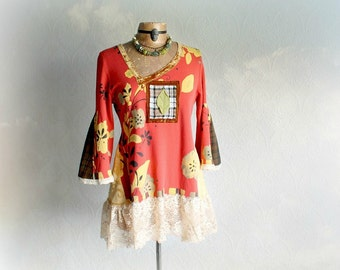 Hippie Women's Shirt Wide Bell Sleeves Retro Clothing Upcycled Recycled Bohemian Chic Colorful Festival Top Eco Friendly Boho Tunic L 'NAOMI