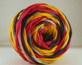 T Shirt Yarn Hand Dyed Pink/Navy/Yellow 60 yards