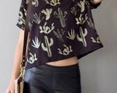 Golden Cactus || Box Crop Top, American milled fabric, metallic gold, cactus crop top, cropped tshirt, oversized crop || by Simka Sol®