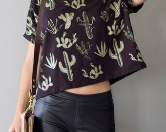 Golden Cactus    Box Crop Top, American milled fabric, metallic gold, cactus crop top, cropped tshirt, oversized crop    by Simka Sol®