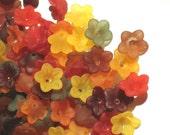 50 Acrylic Flower Beads Lucite Flower Beads - Pretty Petals 12mm - 14mm Fall Beauty Miix