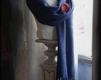 Shawl handwoven royal blue damask heirloom classic wrap