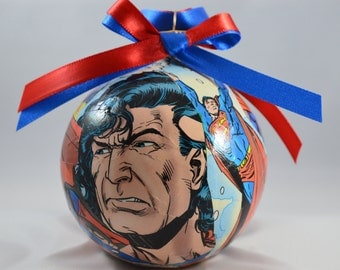 Superman inspired Christmas Ornament, Comic Book Ornament, Superhero Ornament