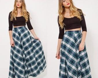Vintage 60s PLAID Maxi Skirt Blue Plaid A LINE Skirt Grunge Skirt Indie Maxi Skirt Swing Skirt Holiday Skirt