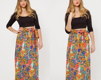Vintage 70s PSYCHEDELIC Skirt Vintage PRINTED Maxi Skirt Mod NEON Floral Wrap Skirt Hippie Maxi Skirt