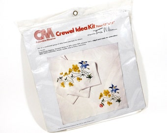 1979 | Vintage CREWEL Kit | ERICA WILSON Design | Floral Dinner Napkin Set | Yellow & Blue | Table Linens | Stitchery Kit | Embroidery Floss