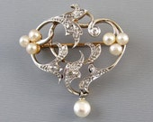 Perfect Valentine Edwardian Belle Epoque 14k platinum half carat diamond pearl heart brooch pendant Signed Henry Blank