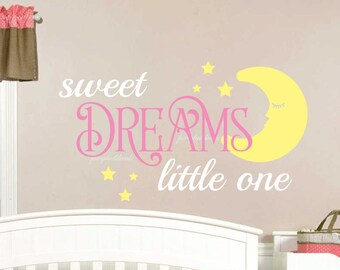 Sweet dreams wall decal, sleeping moon decal, vinyl lettering, nursery decor, vinyl sweet dreams, baby girl nursery, baby boy nursery, moon