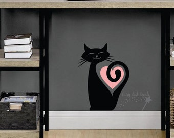Cat Wall Decal, happy cat sticker, wall or window decal, animal decal, cat vinyl sticker, cat heart wall decal, pet cat decal, pet black cat