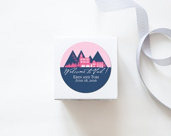 Vail, CO Custom Wedding Welcome Stickers - SKYLINE DESIGN