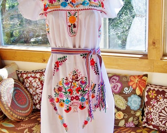 Mexican Dress Embroidered Flower Basket on White Cotton size M