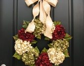 Wreaths, Hydrangea Wreath, Holiday Wreaths, Etsy Wreaths, Holiday Wreath for Door, Door Wreaths