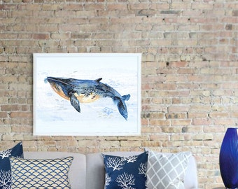 Limited Edition Whale Art Print Watercolor Painting, Giclee, Illustration, Watercolor Wall Art, home decor
