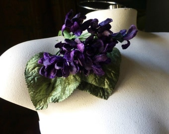 Velvet Millinery Violets in Plum Wine for Bridal, Boutonnieres, Neo Victorian, Steampunk, Millinery, Corsages MF200