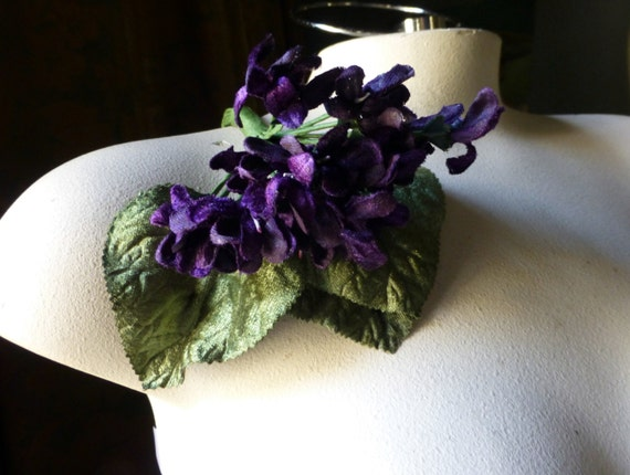 Plum Wine Velvet Millinery Violets for Bridal, Boutonnieres, Neo Victorian, Steampunk, Millinery, Corsages MF 200