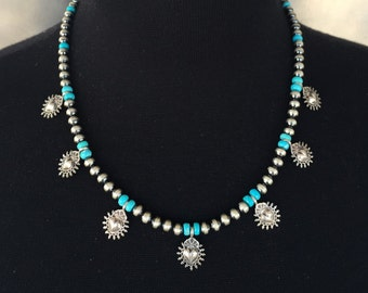 N17 Mini Squash Blossom Boho Style Necklace Sterling Silver Turquoise Santa Fe Pearls Taos Hearts