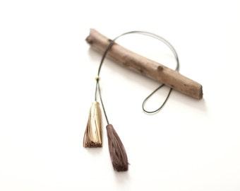 Golden Leather Tassel Necklace