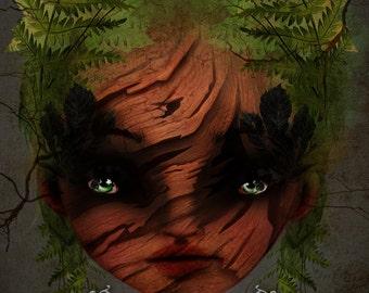 "ACEO / ATC Artists Trading Card Mini Art Print - 'Wood Nymph' -  Small 2.5x3.5"" Giclee Art Print by Jessica von Braun - Dark Haired Pixie"
