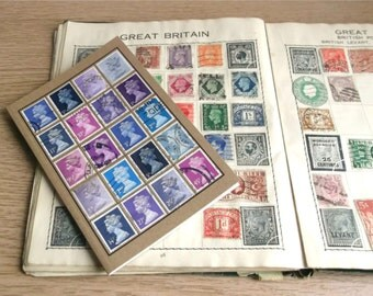 Blue Purple Writing Book | Upcycled A6 Notebook | British Travel Journal | Recycled GB postage stamp mosaic | eclectic gift - writer, office