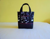 BIBLE TOTE Journaling Bible Tote Bible Bag Perfect Size for Bible, Journal, Pens, etc. Music print Black & hot pink accents