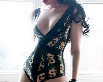 Latex Leopard Cage body suit