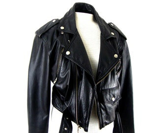 80s leather morocycle jacket cropped / Medium / fantastic