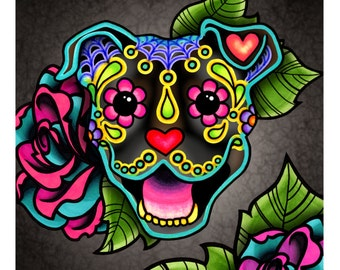 "SALE Regularly 14.95 - Smiling Pit Bull in Brindle - Day of the Dead Sugar Skull Happy Pitbull 8"" x 10"" Art Print"