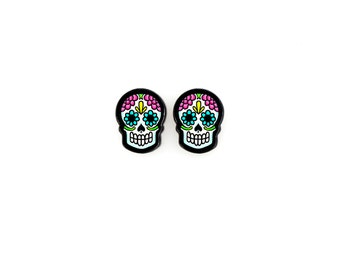 Tiny Colorful Sugar Skull Earrings - Day of the Dead Small Post Earrings