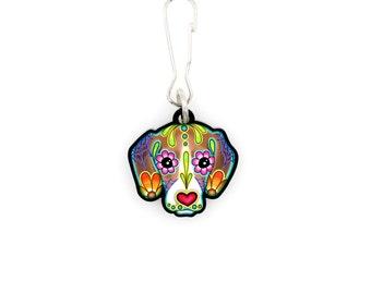 Beagle - Collar Charm / Key Chain / Zipper Pull - Day of the Dead Sugar Skull Dog