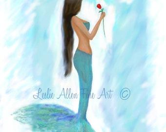"""Mermaid Art Mermaid ART PRINT GICLEE Mermaid Wall Art Wall Decor Mermaid Theme Beach Decor  """"Mermaids Red Rose""""  Leslie Allen Fine Art"""