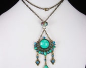 Bohemian Chandelier Necklace Turquoise Sterling glass Gypsy rhinestone pendant OOAK statement jewelry