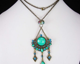 Bohemian Chandelier Necklace Turquoise Sterling glass Gypsy rhinestone pendant OOAK statement jewelry
