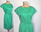 EMERALD Green Cotton Dress /  1960s / L-XL