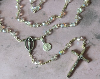 Vintage Aurora Borealis Glass Rosary Bead Necklace INRI Cross Italy Iridescent