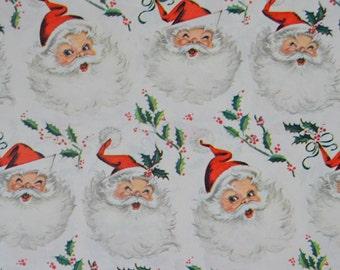 Vintage Mid Century Modern Santa Claus Christmas Gift Wrap Full Sheet