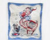 Child's Handkerchief Tom Lamb Signed 1920s Duck & Frog Vintage