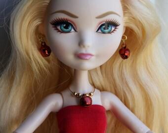 Red Christmas Jingle Bells Beaded Charm Necklace Earrings Bracelet Doll Jewelry fits Petite Slimline High Dolls