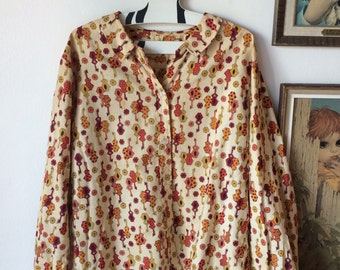 Vintage Shirt Mid Century Modern Guitars & Mod Flower Print 50's 60's Fabric