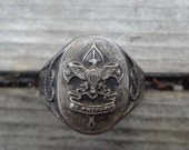 Vintage Boy Cub Scout Ring Be Prepared Silver Plate Size 8 Measures 2 & 1/4 Inches Around Some Patina