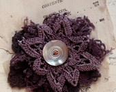 DIY doily brooch kit - hand dyed vintage textiles - antique mother of pearl button - purple nights